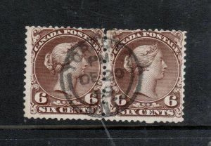 Canada #27ii Used Scarce Pair With Ideal CDS Cancel **With Certificate**