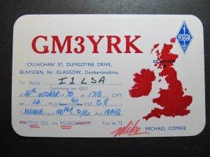 10057 Amateur Radio QSL Card GLASGOW ENGLAND