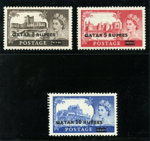 Qatar 1957 QEII Type I Surcharges set complete MLH. SG 13-15. Sc 13-15.