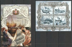 ST2594 2013 MOZAMBIQUE TRANSPORT MEDIEVAL SHIPS GENOVES BUILDERS KB+BL MNH