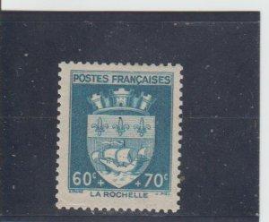France  Scott#  B136  MH  (1942 Arms of La Rochelle)