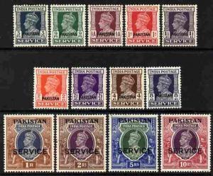 Pakistan 1947 Official KG6 definitive set of 13 opt'd SER...