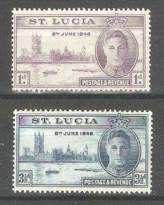 St.Lucia 1946,KG-VI Victory Issue,Scott # 127-128,VF Mint Hinged* (SH-10)