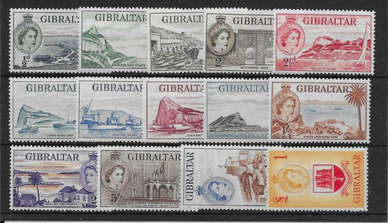 GIBRALTAR SG145/58 1953-9 DEFINITIVE SET MNH