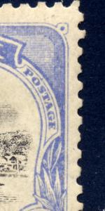 Papua 1907 sg 51a blk and pale ultram, LM - Malformed E of POSTAGE at left