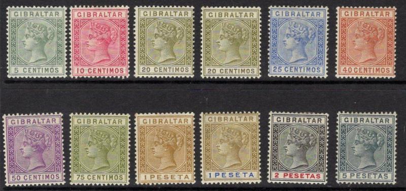 GIBRALTAR SG22/33 1889-96 SPANISH CURRENCY SET MTD MINT
