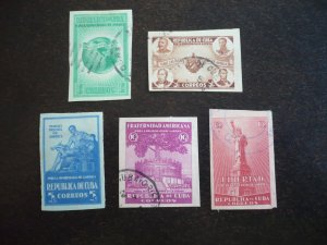 Stamps - Cuba - Scott# 368-372 - Used Set of 5 Imperf Stamps