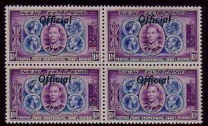 NEW ZEALAND 1940 Centenary 1½d OFFICIAL block of 4 MNH. ...................40346