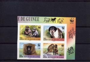 Guinea,Monkeys W.W.F set (4v) Imperf.mnh.Groth Cat.WWF #275