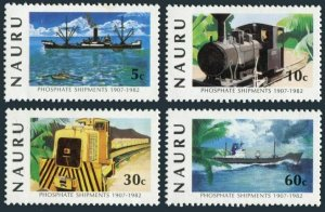 Nauru 252-255,256,MNH.Mi 254-257,Bl.6. ANPEX-1982.Phosphate.Ship,Locomotives.