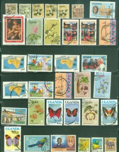 Bargains galore Uganda 34 stamp used mini collection #2