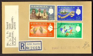 DOMINICA 1967 NATIONAL DAY Set Reg FDC Cover Sc 202-205 to USA