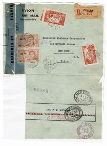 Senegal 1945 Censored Cover, Pasted to Album Page - Lot 101517
