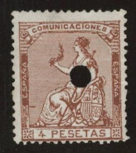 Spain 199 telegraph hole punch cancel 4p Espana 1873