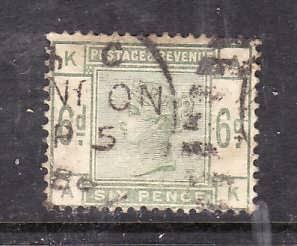 Great Britain-Sc#105-used 6p green QV-1884-