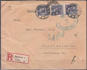 Germany - 22.1.1924 20pf  New as MeF on cover to Netherlands  (5122)