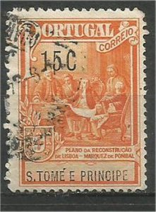 ST. THOMAS AND PRINCE, 1925, used 15c,  Kingstown Scott RA2