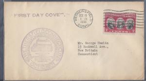 United States, 703-1A, 2c Yorktown FDC, Used