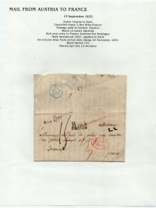 FRANCE Early Incoming LETTER/COVER 1832 fine used item Vienna - Paris