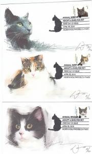 Animal Rescue Cats 5 Diff. FDC 2010