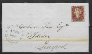 GB 1842 1d RED IMPERF PL23 ON LETTER CARNARVON TO LIVERPOOL