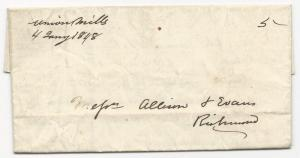 VA Stampless Cover Union Mills DPO 1 January 4, 1848 Amherst Co. 5c Rate