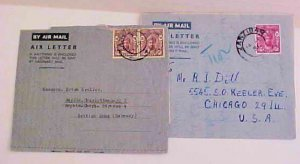 ZANZIBAR  AIR LETTERS GENERAL PURPOSE 1950 TO GERMANY,1951 TO USA