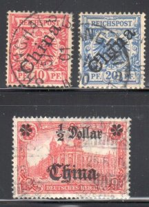 German OFFICE IN CHINA #3, 4a, 53 USED -- #53 has  a tear
