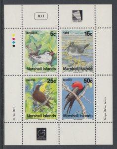 Marshall Islands 361a Birds Souvenir Sheet MNH VF