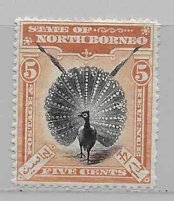North Borneo 83 5cPeacock single MLH