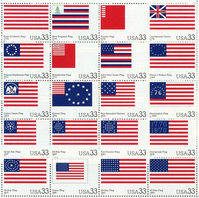 2000 sheet of postage stamps - Various Stars and Stripes, Sc# 3403