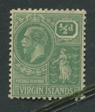 Virgin Is.- Scott 53 - KGV Definitive -1922 - MVLH -Wmk 4 - Single 1/2p Stamp