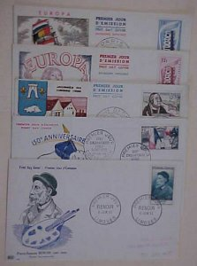 FRANCE  5 DIFF. FDC  1954-1956 #996,1032,1054,1076-7 cat.$105.00 cacheted