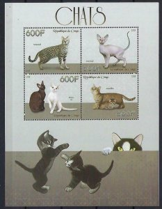 Congo MNH S/S Playful Cats 2015 4 Stamps