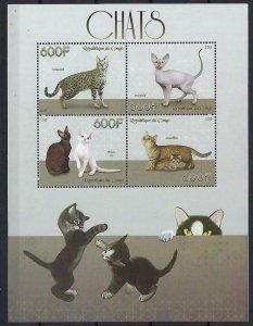 Congo MNH S/S Playful Cats 2015