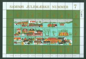 Denmark. Christmas Sheet Local Samso  # 7  Lions Club 1985. Town,Farms