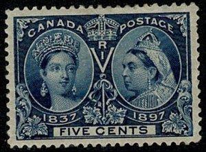 CANADA QV 1897 JUBILEE ISSUE 5c Dp. BLUE MINT UNUSED(MH) SG128 Wmk.none P.12 VGC