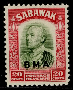 SARAWAK GVI SG136, 20c olive-green & carmine, LH MINT.