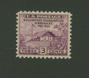 US 1933 3c violet Peace of 1783 Issue, Scott 727 Mint Hinged, Value = 25c