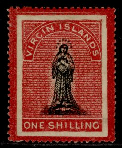 BRITISH VIRGIN ISLANDS QV SG19, 1s black & rose-carmine, M MINT. Cat £75.