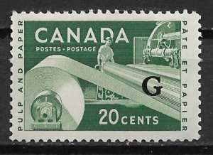 1956-62 Canada O45 Overprinted Official Paper Industry 20¢ MNH