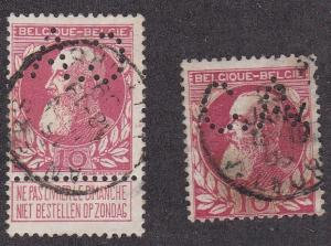 Belgium # 85, King Leopold, two perfin stamps, Used