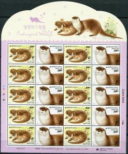 South Korea 2016. Otter (MNH OG) Sheet
