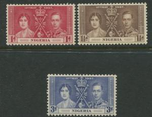 Nigeria -Scott 50-52 - Coronation Issue -1937 - MVLH - Set of 3 Stamp