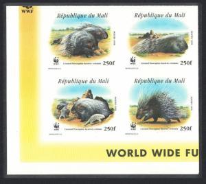 Mali WWF Crested Porcupine Bottom Left Imperf Block of 4 MI#1974-1977 SC#918 a-d