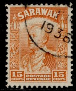 SARAWAK GV SG115, 15c orange, USED. Cat £10.