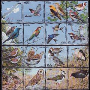 MALTA 2001 - Scott# 1055a-p Birds Set of 16 NH
