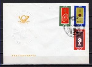 German Dem. Rep. Scott cat. 1125-1127. Sports & Chess issue. First day cover.