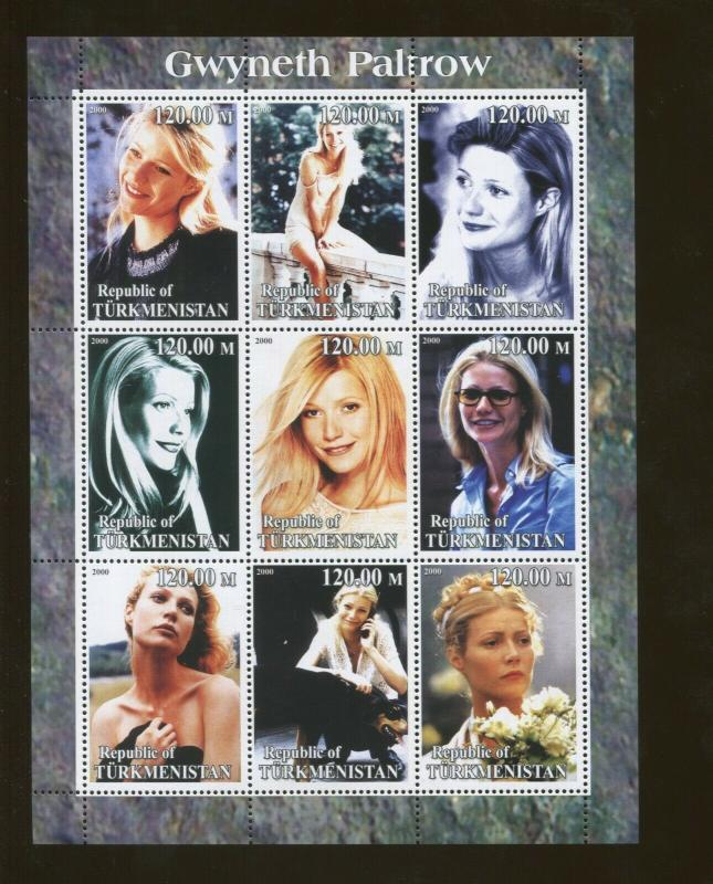 Turkmenistan Gwyneth Paltrow Commemorative Topical Souvenir Stamp Sheet