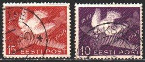 Estonia. 1940. 160-62. Pigeon, plane, mail. USED.
